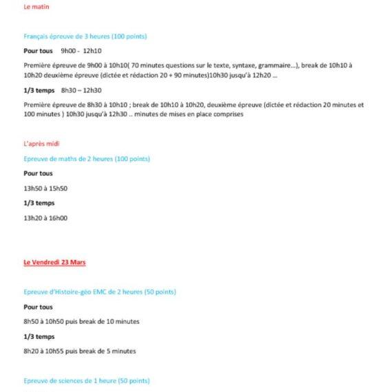 Organisation du DNB blanc des 22 et 23 Mars