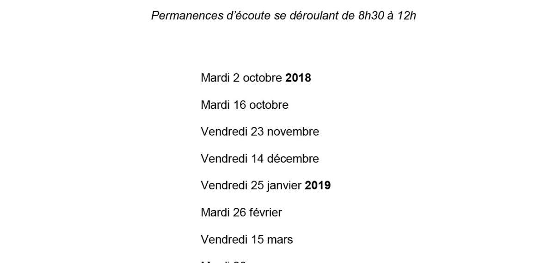 Lettre aux parents – Permanence d'écoute 2018-2019