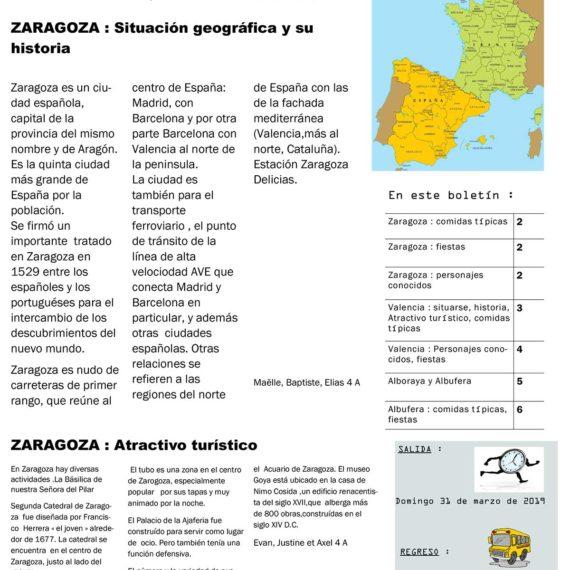 Les 4A et 4E réalisent un journal en espagnol .