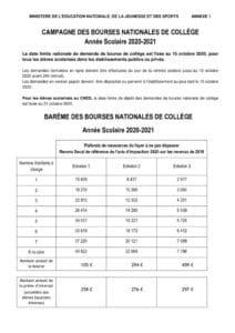 thumbnail of 9 Barème bourses de collège 2020-2021