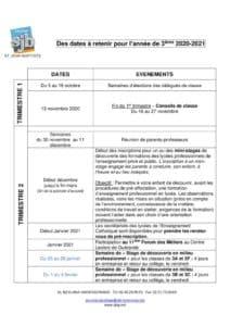 thumbnail of Dates à retenir 3ième 2020 2021