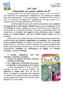 thumbnail of Présentation aux parents LCA Latin 4ème – 2020