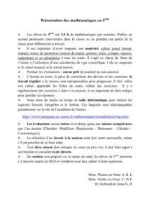 thumbnail of Présentation niveau 5e Maths