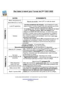 thumbnail of Dates à retenir 3ième 2021 2022